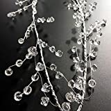 EORTA 94 Inch Crystal Beaded Garland Clear Diamond Branch Chandelier Twinkle Acrylic Ice Silver Wire String Wreath Party Decoration for Wedding DIY Craft Jewelry Making, Diamond Pattern