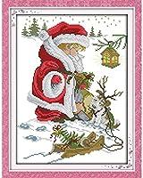 HMTTKPRO大人の初心者クロスステッチキットメリークリスマスDiy11CT-16x20インチスタンピングクロスステッチキット、DIYソーイングホームデコレーション