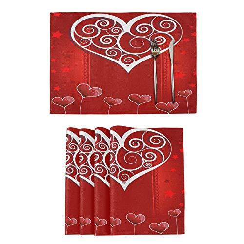 Jogo americano vermelho Valentine Heart Love Jogo de 4 tapetes para cozinha, jantar dupla face, tapetes de mesa para casa de fazenda para festas de casamento, decoração de casa