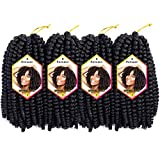 8 Inch 4Packs 110g/pack Spring Twist Crochet Braids Passion Twist Hair Spring Twist Hair (8' 4PCS 1B#)