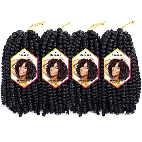 "8 Inch 4Packs 110g/pack Spring Twist Crochet Braids Passion Twist Hair Spring Twist Hair (8"" 4PCS 1B#)"