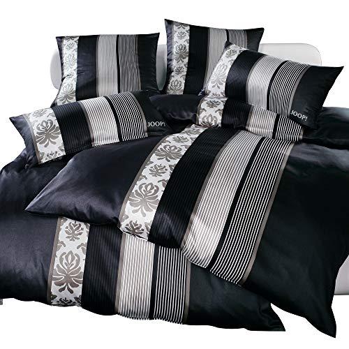 Joop.–Ropa de cama (Mako satén Ornament Stripe 4022, negro, 135 x 200 cm + 40 x 80 cm