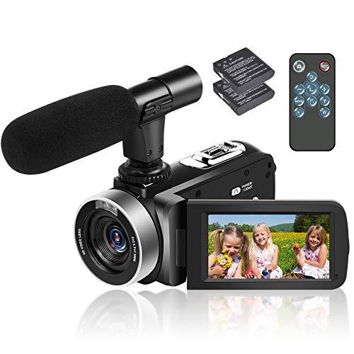 Videokamera Camcorder Full HD 1080p 30FPS HD Camcorder 24MP Videokamera 18-Fach Digitalzoom videokamera 3 Zoll IPS-Bildschirm Videokamera mit Fernbedienung und 2 Batterien