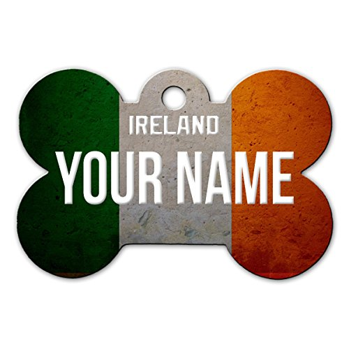 BleuReign(TM Personalized Custom Name Country License Ireland Plate Bone Shaped Metal Pet ID Tag with Contact Information