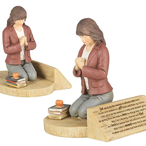 Dicksons Teacher's Prayer, Kneeling with Books 4.5 x 5.5 Resin Stone Tabletop Figurine