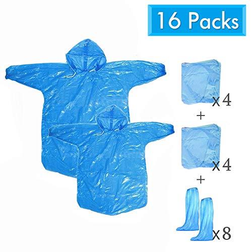 Imperméables Capuche Unisexe Poncho Pluie Transparent Jetable Portable Emergency Poncho Taille de Adulte et Enfant pour Parcs d'Attractions de Festivals Camping--16 Pièces
