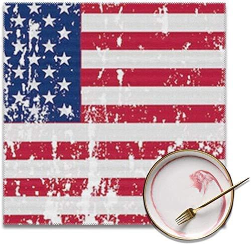 Juego de 4 manteles individuales reutilizables con imagen de bandera americana, protectores de mesa de poliéster para cocina, comedor, 30,5 x 30,5 cm, adecuado para cualquier ocasión y uso diario.