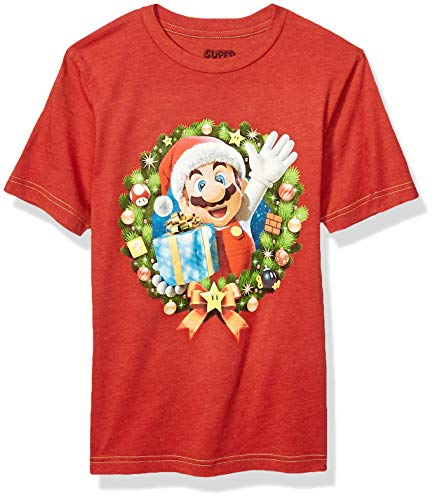 Nintendo Boys' Big Mario Wreath T, Chinse red black, Large