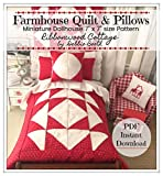 Miniature Patchwork Quilt and Pillow Farmhouse pattern PDF Dollhouse Miniature Size 7' x 7': Simple to make a little farmhouse style quilt (English Edition)