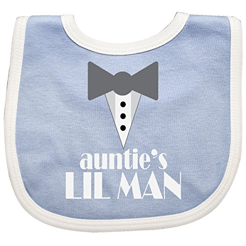 Inktastic - Auntie Lil Man Tuxedo Front Baby Bib Navy/White 223f3