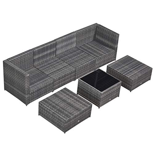 Outsunny 7-TLG. Polyrattan Gartengarnitur Gartenmöbel Garten-Set Sitzgruppe Loungeset Loungemöbel inkl. Fußhocker Sitzkissen Grau Stahl + Polyester 58 x 58 x 37 cm - 6