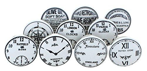 G Decor - Pomos de cerámica para puertas, muebles y cajones, estilo vintage shabby chic, diseños de relojes y tiempo (juego de 10)