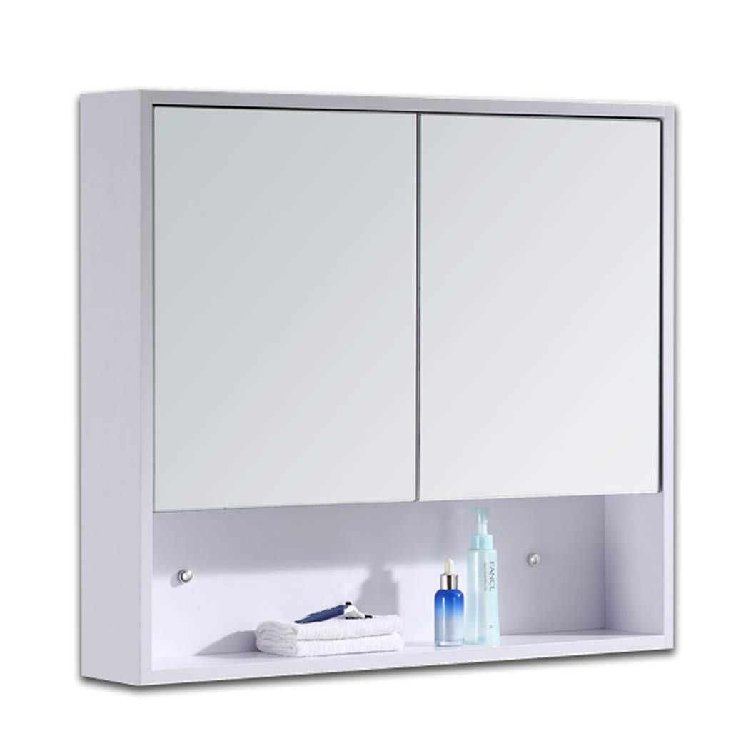 Solid Wood Mirror Cabinet Bathroom Mirror Box Wall Mounted Bathroom Mirror With Shelf Storage Lens Color White Size 60 14 70cm Buy Online At Best Price In Ksa Souq Is Now Amazon Sa