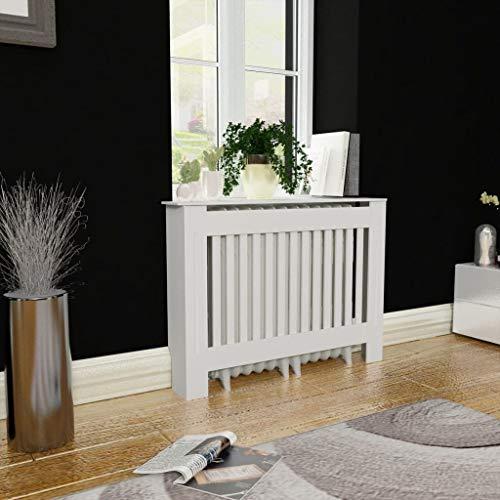 "vidaXL Radiator Cover Heating Cabinet White 44"" Wall Cupboard Shelf MDF Matte"