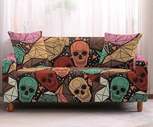 Funda de sofá, funda de sofá elástica de calavera 1/2/3/4 plazas Funda de sofá elástica antideslizante de Halloween Protector de mascota,Klq03,2seater