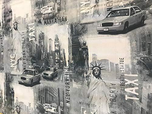 Nappe en vinyle PVC 2 m (200 x 137 cm) USA New York Street Scene Cabs Pour s'adapter à une table rectangulaire jusqu'à 6 places, facile à nettoyer, dos en textile (223)