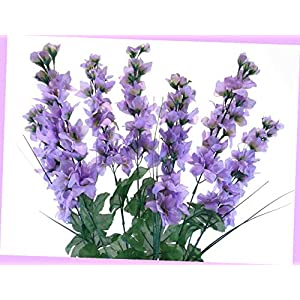 Artificial Lavender Delphinium Bush Artificial Silk Flowers 24″ Bouquet 7-011 Lv Bouquet Realistic Flower Arrangements Craft Art Decor Plant for Party Home Wedding Decoration