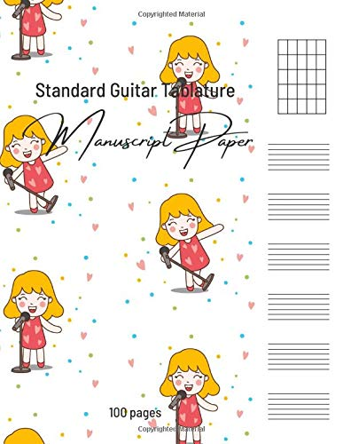 Standard Guitar Tablature: Blank Sheet Music Notebook Manuscript paper for young Musicians, Wide Staff , Tabs Journal format for kids, Music ... staves per page ( Singing Girl Cover)
