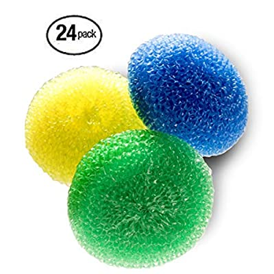 Scouring Pad Non Scratch 24 Pack Assorted Colors Tough and Durable Non-Scratch for Non-Stick Cookware