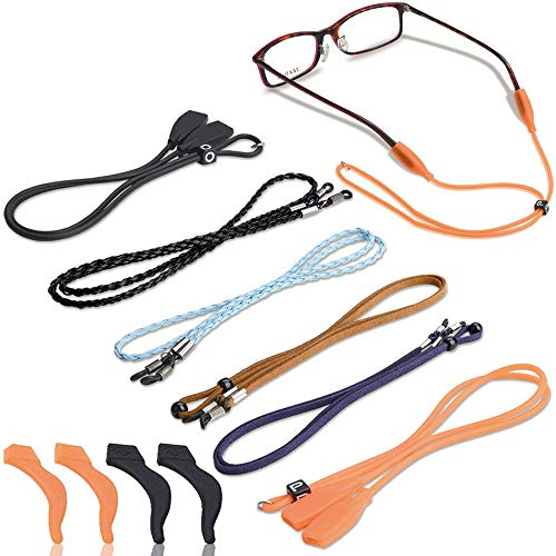 6 Pcs Eyeglasses Strap-Chains-Cord, Premium Sunglass String for Men Women Kids, Adjustable Eyewear Retainer with 2 Pairs Ear Hooks for Reading Glasses, Sports and Outdoor Activities