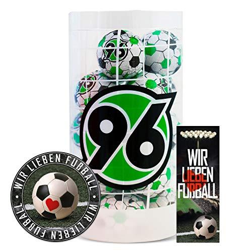 Hannover 96 Schokokugeln, Schokofussbälle, Schokoladen Kugeln Plus je 1 x gratis Aufkleber & Lesezeichen Wir lieben Fussball