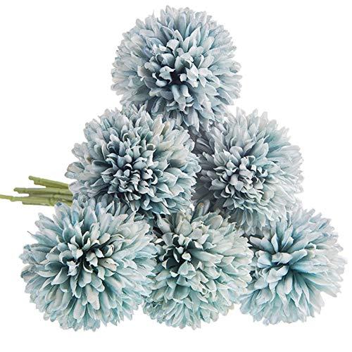 CQURE Unechte Blumen,Künstliche Blumen Deko Blumen Gefälschte Blumen Künstliche Hortensien kunstblumen Braut Hochzeitsblumenstrauß für Haus Garten Blumenschmuck 6 Köpfe(Hellblau)