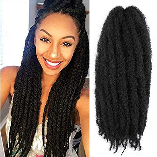 6packs Marley Hair for Twists 18 Inch Long Afro Kinky Marley Braid Hair KanekalonSynthetic Fiber Marley Braiding Hair Extensions (18inch, 1#)