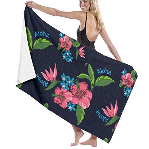 HomeLEE Toalla de playa con estampado de flores hawaianas, toalla de baño suave absorbente para natación, deportes, playa, playa, verano Hawiia, secado rápido, toalla de viaje para baño, 81 x 132 cm