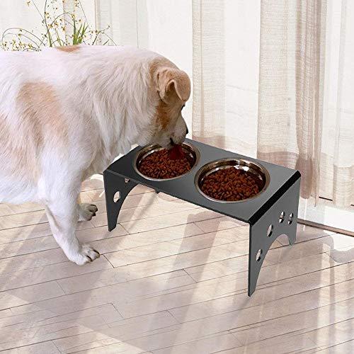 SOULONG - Comedero Elevado para Mascotas, 2 Cuencos elevados, para Gatos y Perros, Agua alimentaria, 35 x 17 x 13 cm