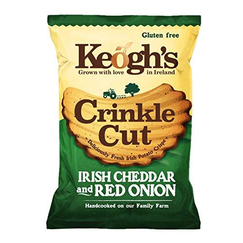 Pack mit 24 Stück- 50 g Keoghs Crinkle-Schnitt Irische Cheddar-Käse und Rote Zwiebel Chips glutenfrei (Irish Online Supermarket)