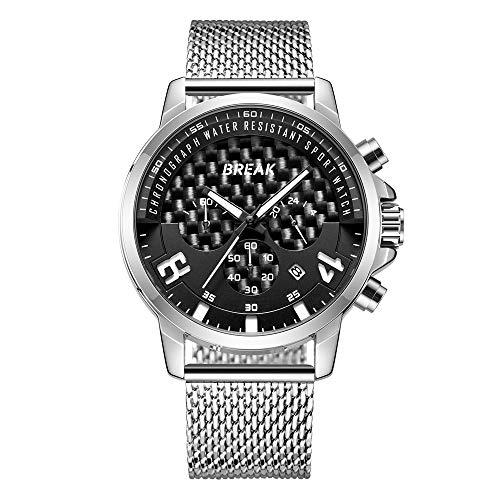 BREAK Reloj deportivo de cuarzo, clásico de moda, cronógrafo, resistente al agua, calendario, reloj de pulsera