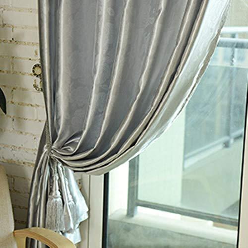 PENVEAT Grau Jacquard Tüll bloße Fenstervorhänge für Wohnzimmer das Schlafzimmer gestickter Shade Voile drapiert-Panel, Grau Vorhang, W250XH270,5 Ziehen gefaltetes Band