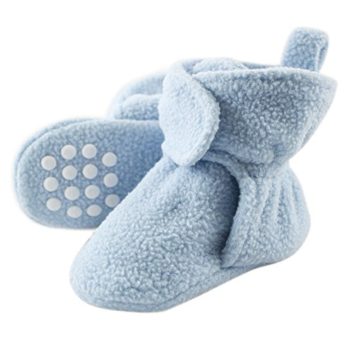 Luvable Friends Baby Cozy Fleece Booties with Non Skid Bottom, Light Blue, 0-6 Months
