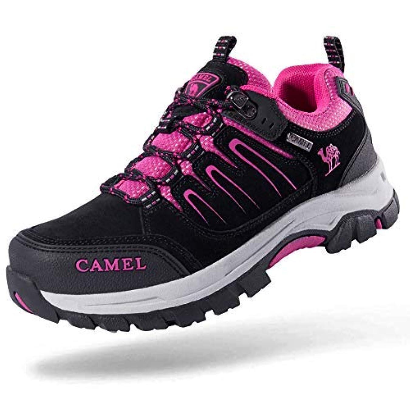 瞑想する検索エンジンマーケティング花瓶CAMEL CROWN Women's Breathable Leather Hiking Shoes for Outdoor Camping Trekking Exploring (Black/Rose red 8.5 US) [並行輸入品]