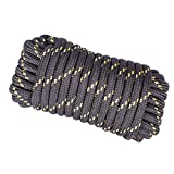 Wasons W103-1B Diamond Braided Utility Rope, 1/2-Inch x 50-Foot, Black