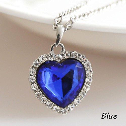 Chic cristal completo Rhinestones Titanic corazón de océano collares joyería regalo nueva 1Pc azul