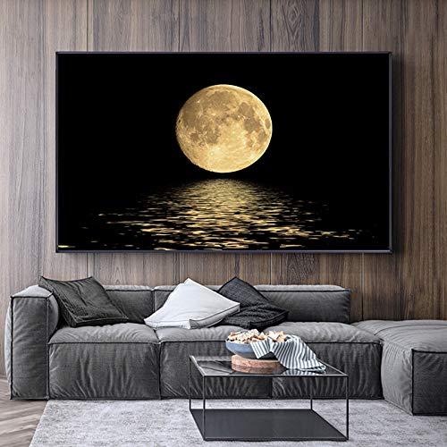 Pinturas en Lienzo de Luna Blanca y Negra, Carteles e Impresiones artísticos de Pared Modernos, imágenes artísticas abstractas para la decoración de la Sala de Estar 60x80cm