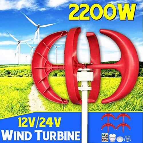 2200 Watt 12 V 24 Volt 4 Klingen Vertikale Achse Laterne Windkraftanlage Generator + Windregler Geschenk Fit für Zuhause ights Oder Boot,24v
