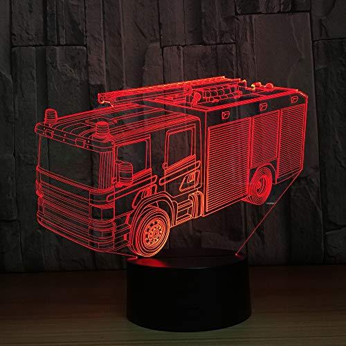 LPHMMD Nacht Licht Brandweerwagen 3D Lamp 7 Kleur LED Nachtlamp voor Kinderen Touch LED USB Baby Slee Nachtlampje voor Kid Dream