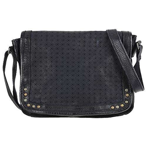 Taschendieb Wien Leder Umhängetasche Crossbag Shoulderbag Seitentasche TD0617, Farbe:Anthrazit