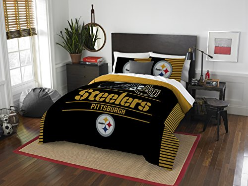 Officially Licensed NFL Pittsburgh Steelers 'Draft' Full/Queen Comforter and 2 Sham Set, 86' x 86'