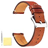BINLUN Genuine Leather Watch Straps Quick Release Leather Watch Bands with Stainless Metal Buckle Clasp for Men Women 12mm 14mm 16mm 18mm 20mm 22mm 24mm