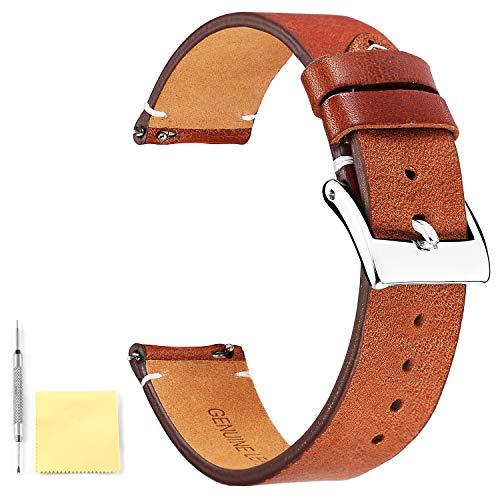 BINLUN Correas de Reloj de Cuero Genuino Bandas de Reloj de Cuero de liberación rápida con Cierre de Hebilla de Metal Inoxidable para Hombres Mujeres 12mm 14mm 16mm 18mm 20mm 22mm 24mm