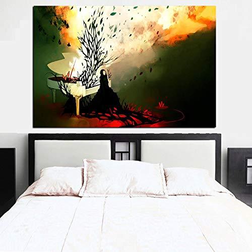HD Print Abstract Psychedelic Feuer Klavier Frau Ölgemälde auf Leinwand Pop Art Poster Wandbild Wohnzimmer Dekor 30x40
