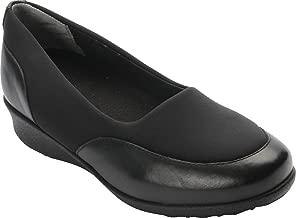 Drew Shoe Women's London II Slip On Casual Flats, Black, Textile, 7 WW