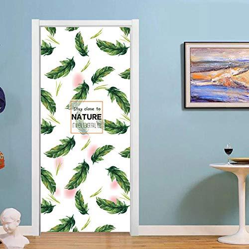Lyrdream 3D DIY liście naklejka na drzwi do sypialni salonu winylowa dekoracja domu aplikacja samoprzylepny plakat aktualizacja mural papier