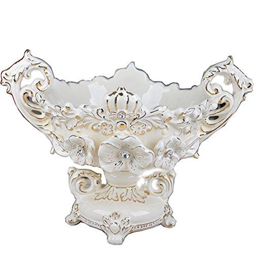 FYYDGZ Céramique Assiette de Fruits Fleur en Relief Diamant incrusté Or Pieds Hauts Bol de Fruits Maison Ornements Fournitures, Blanc