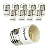 Aiwode E27 a E14 Socket Adapter Socket Convertidor, E27 Adaptador conversor para bombillas LED y bombillas Halógenas,Potencia Máxima 200W,Paquete de 10.