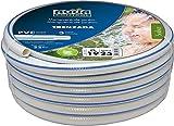 Aqua Control 51925 - Rollo de 25 metros de manguera trenzada de jardín de 19 mm de diámetro. Color blanco con listado azul.