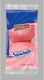Mrs.Freshleys Creme Filled Pink Snowball Cake, 4.25 Ounce -- 96 per case.
